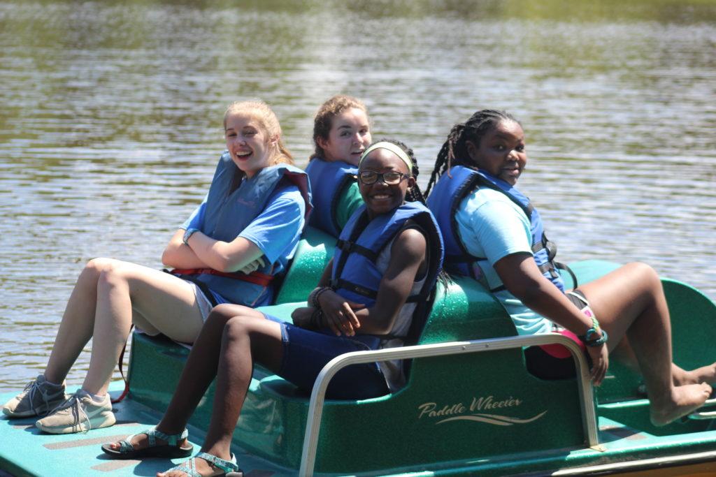 Campers paddleboating